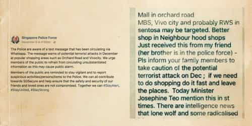 Beware of hoax terror threat text messages in Singapore!