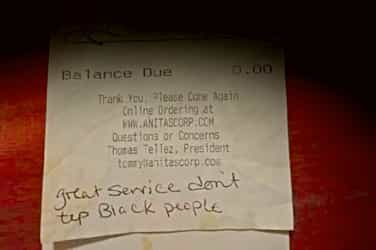 White couple refuses to tip a server just because she is black!