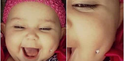 """This """"cruel"""" mum pierced her baby's cheek to send an important message to parents"""