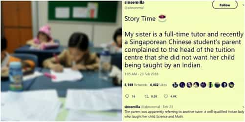 Racial discrimination in Singapore: Chinese parents don't want Indian teacher!