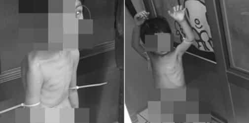 3-year-old boy found naked, starving and tied up on