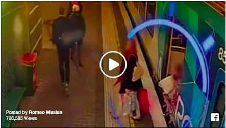 Little girl slips into the gap of the train...Watch out what happens next