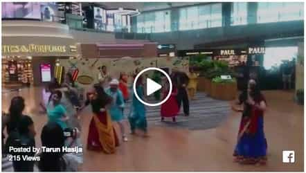 Singapore airport staff greets travelers with a special dance performance for Diwali