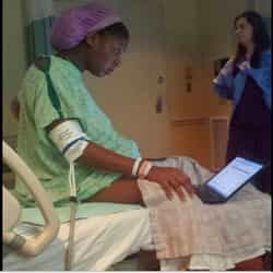 She finishes her college exams during labour! Amazing dedication!