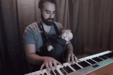 Daddy cool pulls off the neatest trick to put his baby to sleep within seconds