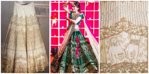 """Getting your holiday pics """"etched"""" on the wedding lehenga is the HOTTEST new bridal trend!"""