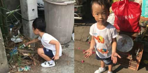 Mum makes her child pick up trash for a day after he refuses to go to school