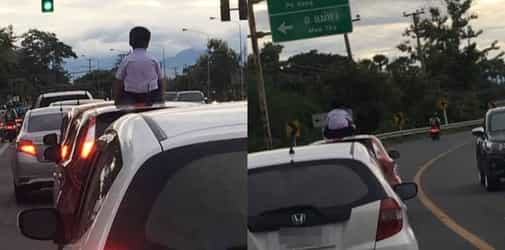 Parents Let Son Sit On Top Of Moving Car, Say He's Always Been Doing It