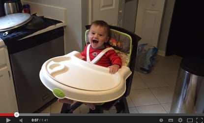 Cute video! Baby is loving his first taste of solids