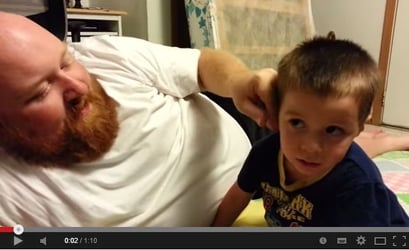 Toddler cries when dad steals nose and ear - Funny video!