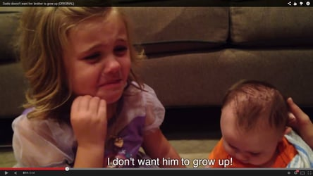 Cute video! Little girl doesn't want baby brother to grow up!