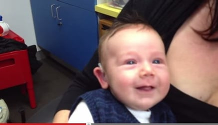 7-week-old hears mom's voice for the first time!