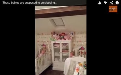 Twin babies don't want to sleep- watch this to see what they're doing!