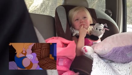 Toddler gets emotional while watching cartoons - Such a sweet girl!