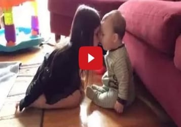 Sweet moment between sister and brother caught on cam!