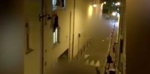 Watch: Pregnant woman hangs from a window during the Paris attacks