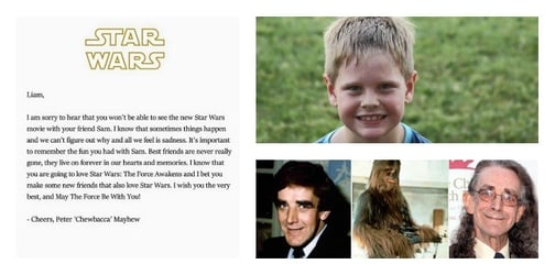 Dad thanks Star Wars' Chewbacca for touching letter to his late son's friend
