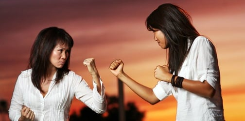 This furious wife beats up husband's mistress before throwing her off a bridge!