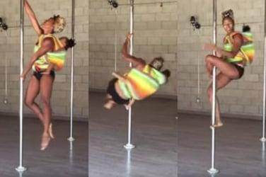 Awesome mom breastfeeds while pole dancing with her toddler