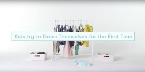 Kids try getting dressed by themselves for the first time