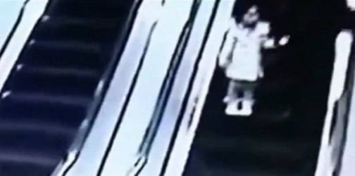 Shopping cart crashes down an escalator and slams into unsuspecting mom and daughter