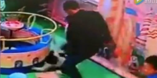 Father viciously kicks boy after he bumps on his daughter in the playground