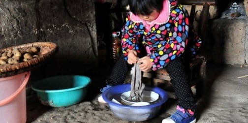 This orphaned toddler labors so she could provide for her grandparents