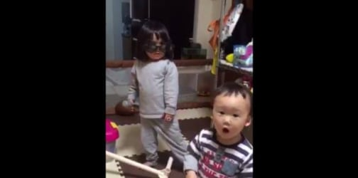 Little popstar has priceless reaction when her brother interrupts
