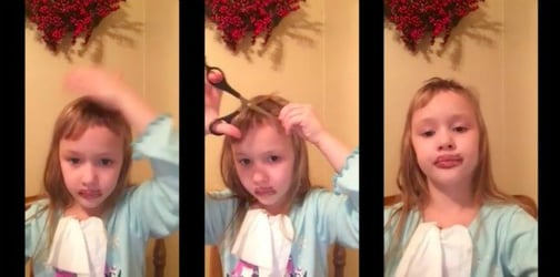 Look at how this confident little girl cuts her own hair