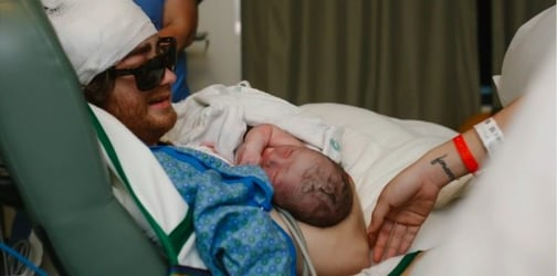 WATCH: Dad with stage 4 cancer leaves ICU to witness son's birth