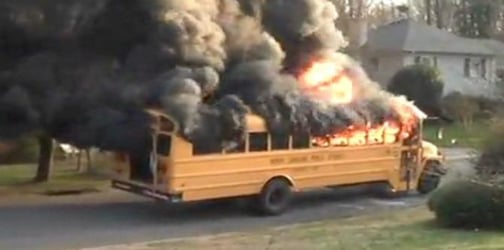 Heroic school bus driver rescues 20 children from burning bus