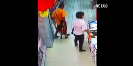 Video: Father slips and accidentally crushes his son