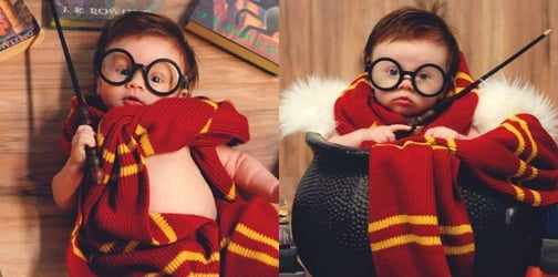 Mom transforms baby into Harry Potter for an adorable themed photo shoot