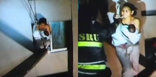 WATCH: Firemen save mom and newborn from condo fire by crossing steel bar