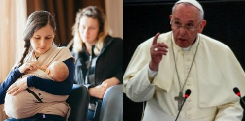 Pope Francis encourages moms to 'breastfeed without fear' while inside the church