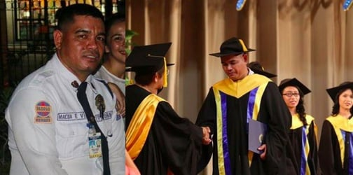 School guard and dad of 3 graduates from school he guards with cum laude honors