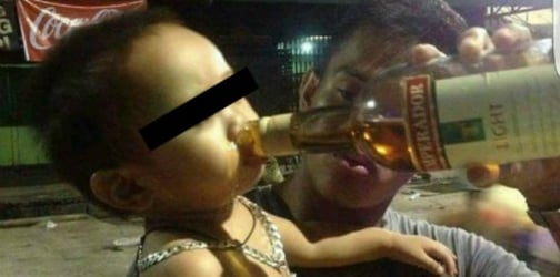 Netizens lash out at father who posted a photo of his toddler drinking alcohol