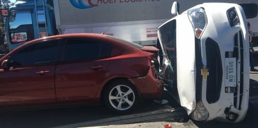 Child trapped inside car after road accident