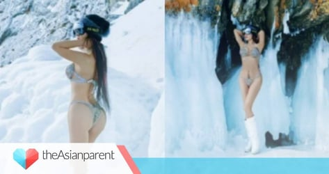 50-year-old mom's bikini shoot in the extreme cold goes viral