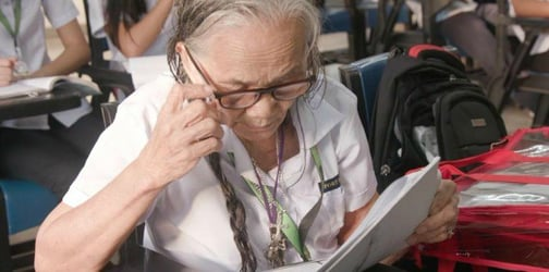 80-year-old lola still actively goes to school!
