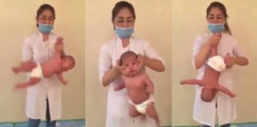 Is swinging and shaking a baby during baby massage safe?