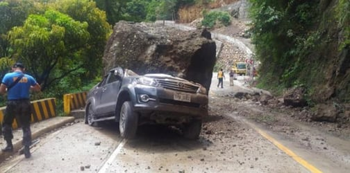 Boulder smashes SUV of family driving along Kennon Road