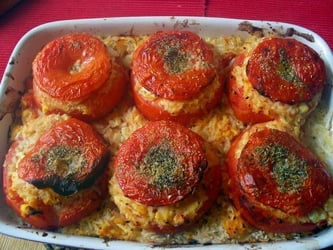 Stuffed tomatoes with beef and corn