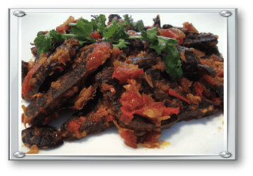 Deep fried beef lungs with chillies