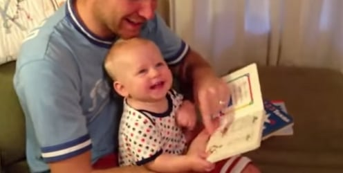 This video of a baby's first reading lesson will bring on the giggles!