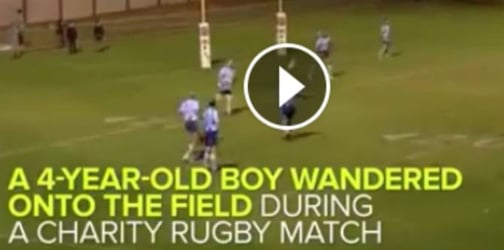 Kid wanders into Rugby field... and plays with legends!