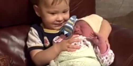 Kids' first sight of their baby siblings
