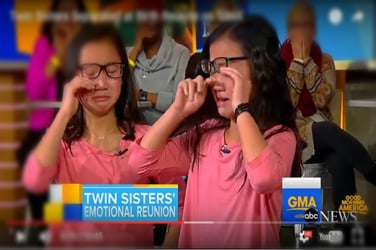 Chinese girl reunites with her twin sister she had all forgotten about!