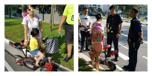 Mum caught riding e-scooter with child on road in Singapore!