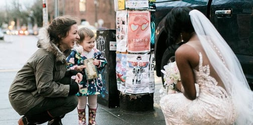 Adorable little girl mistakes bride for princess from her favourite story